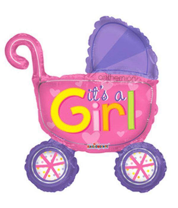 Μπαλόνι καροτσάκι μωρού ροζ 25εκ.