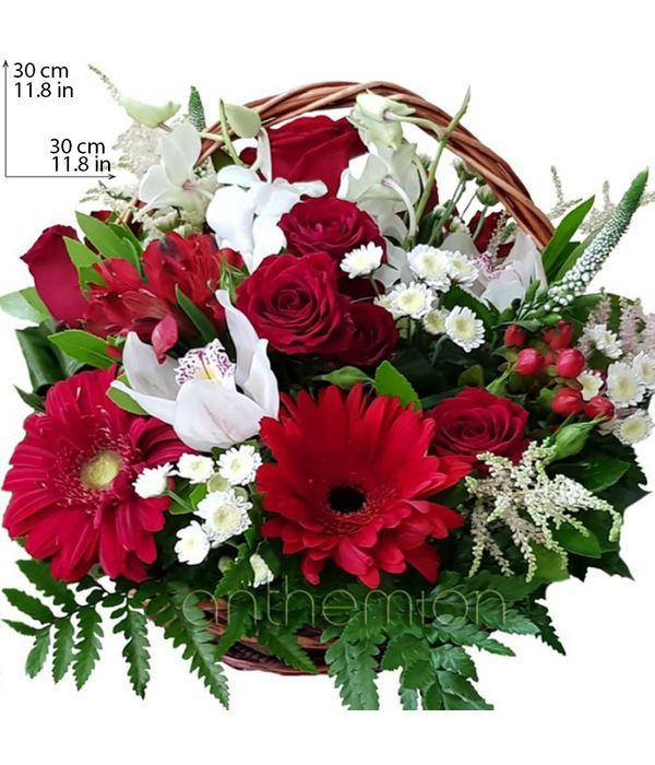 Καλάθι με λουλούδια σε κόκκινο και λευκό