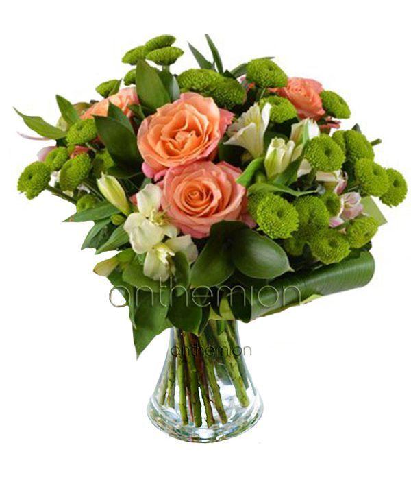 Roses, alstromerias and chrysanthemum bouquet