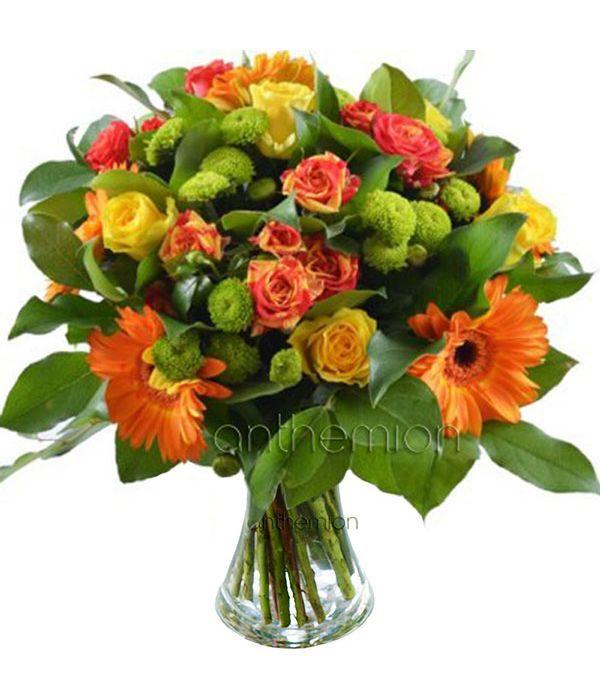 Roses with chrysanthemum and gerberas