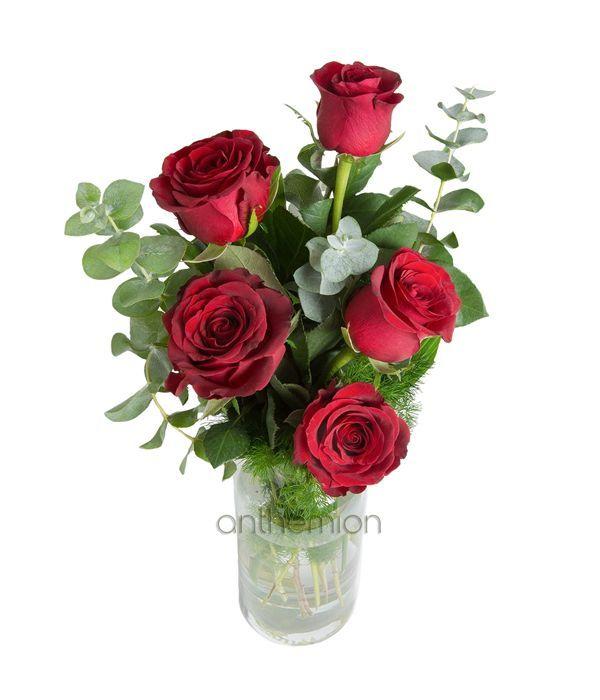 Μπουκέτο με 5 κόκκινα τριαντάφυλλα σε βάζο