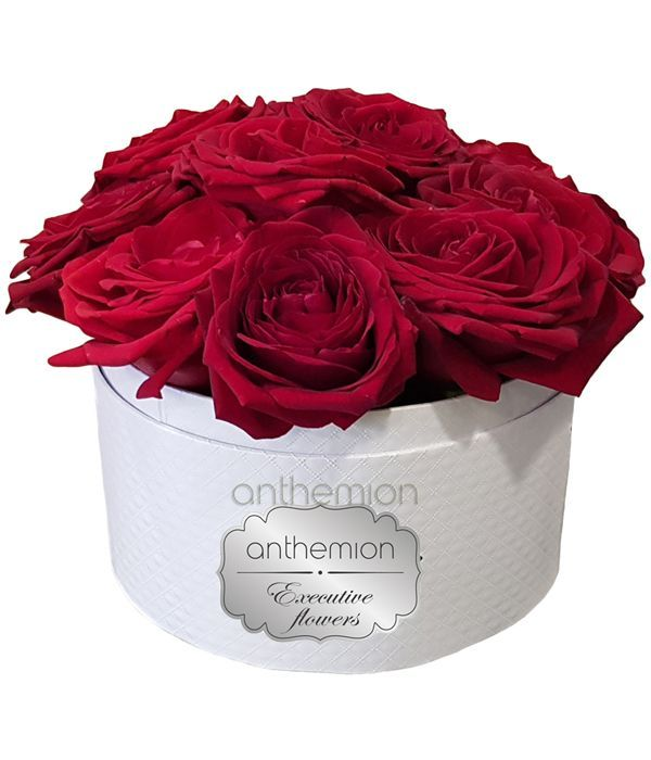 Classic red roses in white box