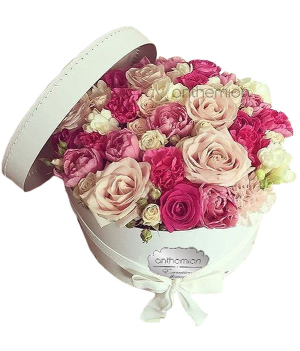 Romantic arrangement in white box
