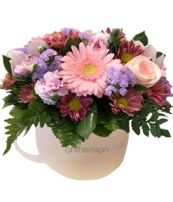 Κεραμική κούπα με λουλούδια
