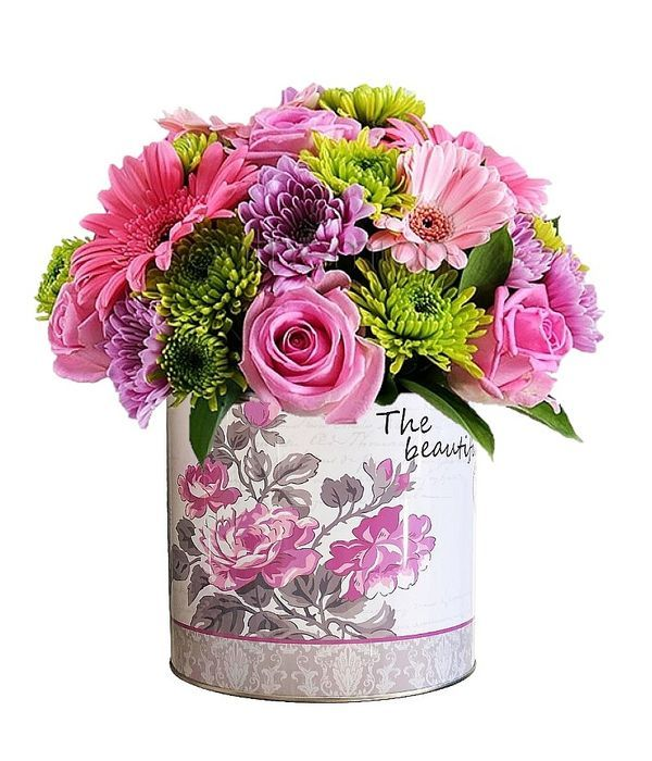 Pink and green flowers in box