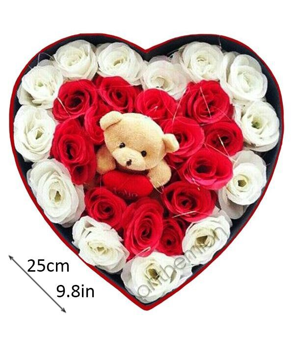 White and red roses with teddy bear