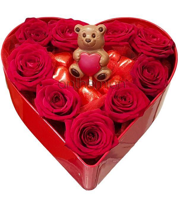 Καρδιά με τριαντάφυλλα, σοκολατάκια, γλειφιτζούρι