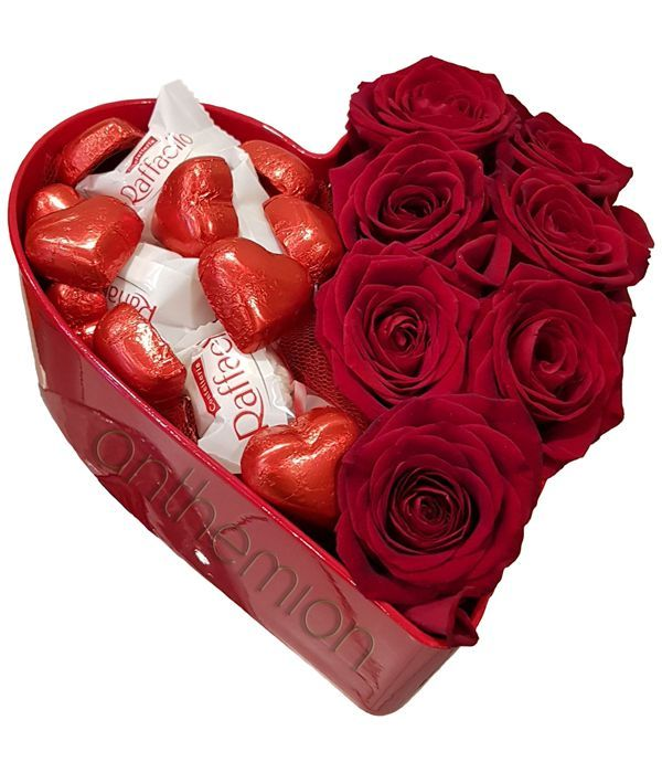 Red roses with a variety of chocolates