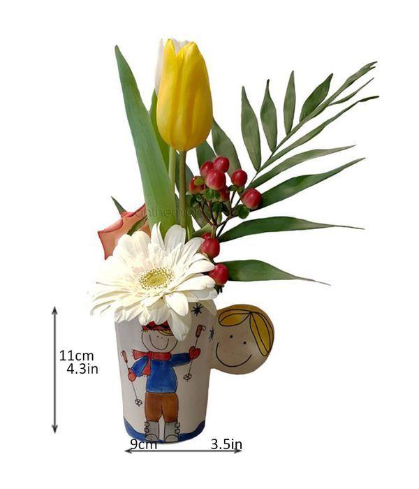 Κούπα σκιέρ με λουλούδια για γέννηση