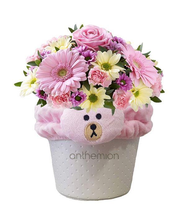 Πάνινη βάση με λουλούδια για νεογέννητο κοριτσάκι