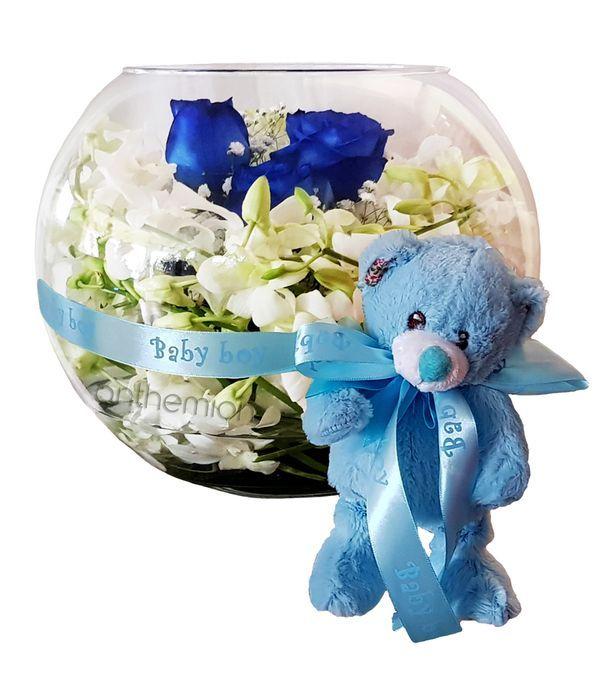 Γυάλινη μπάλα με ορχιδέες, τριαντάφυλλα και αρκουδάκι