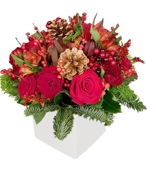 Holiday Flower Arrangement in cube