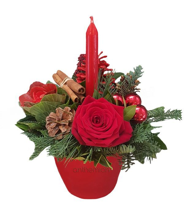Christmas Arrangement with Red Candle