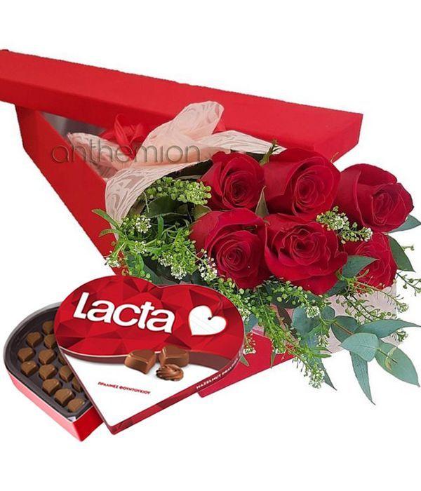 Κουτί δώρου με 6 κόκκινα τριαντάφυλλα και σοκολατάκια