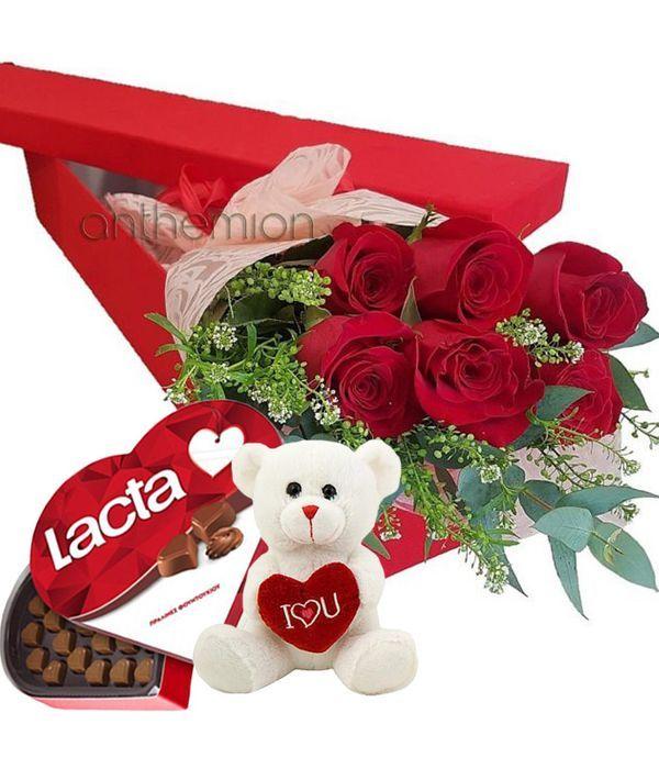 Κουτί δώρου με τριαντάφυλλα, σοκολατάκια και αρκουδάκι