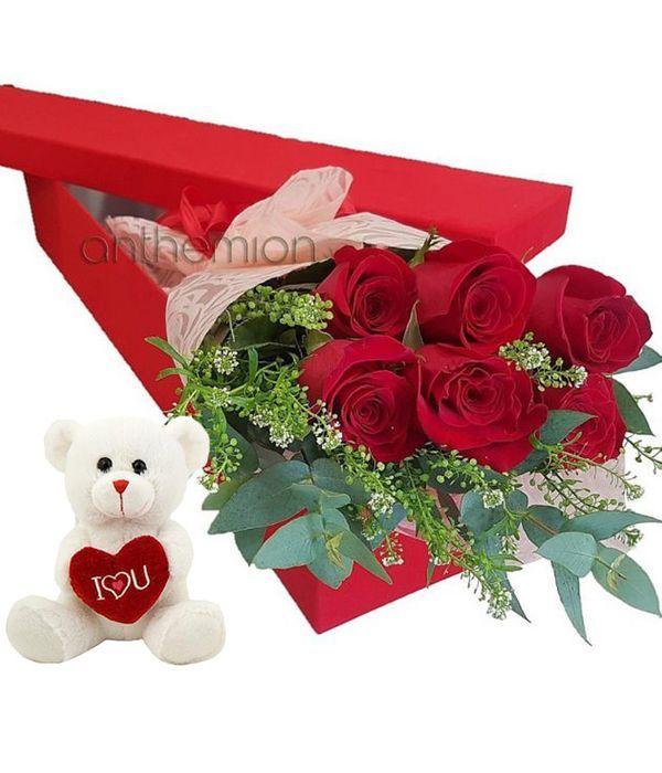 Κουτί δώρου με 6 κόκκινα τριαντάφυλλα και αρκουδάκι