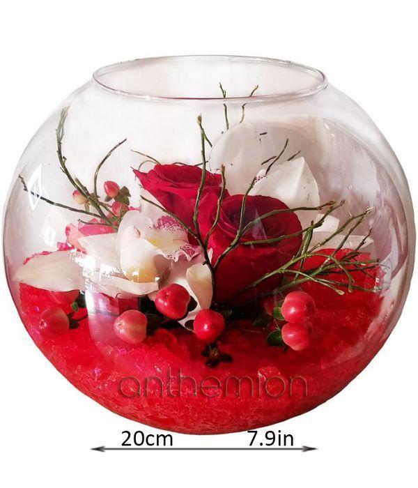 Γυάλινη μπάλα με τριαντάφυλλα και ορχιδέες