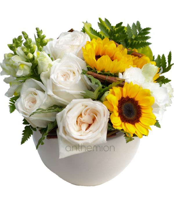 Arrangement with Roses and Sunflowers