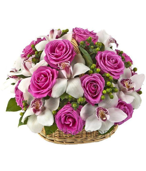 Φούξια Τριαντάφυλλα και Λευκές Ορχιδέες σε Καλάθι