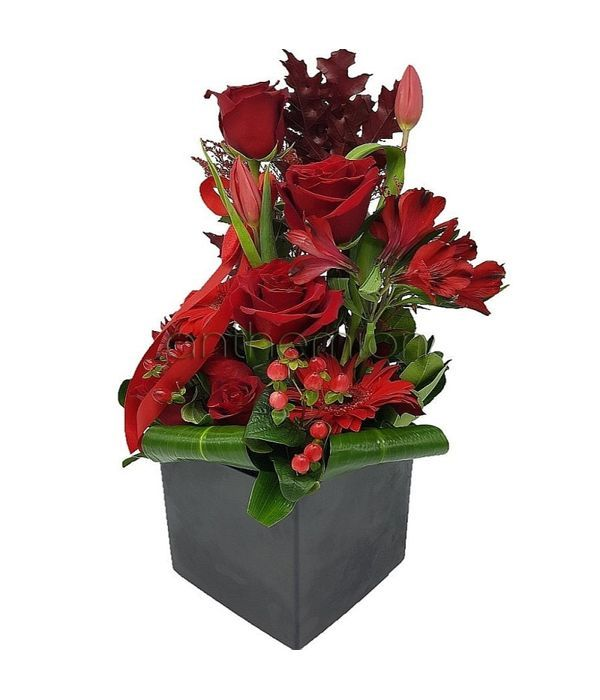 Red flower arrangement in cube