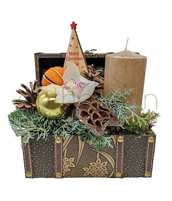 Festive golden chest
