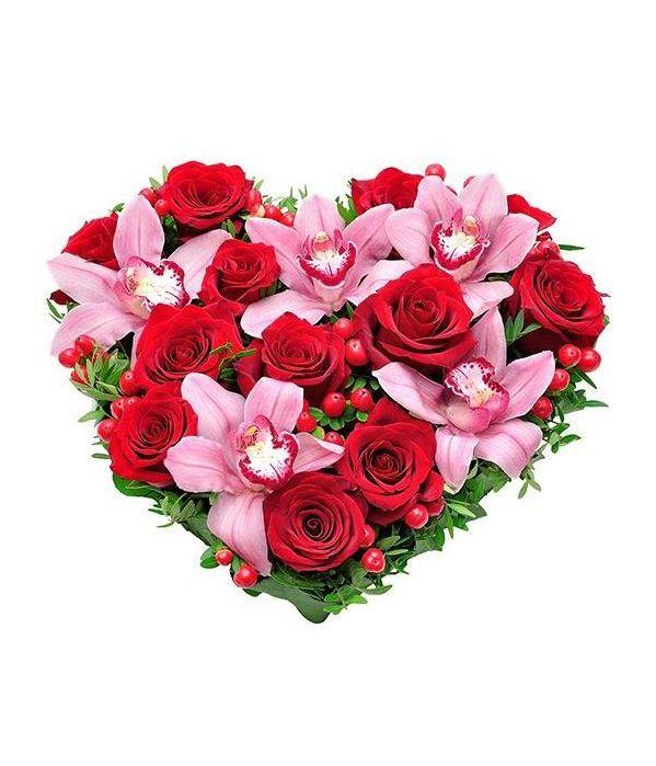Καρδιά με τριαντάφυλλα και ορχιδέες