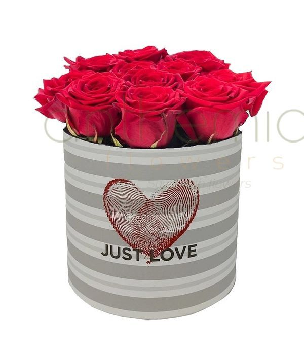 Κουτί Just Love με κόκκινα τριαντάφυλλα