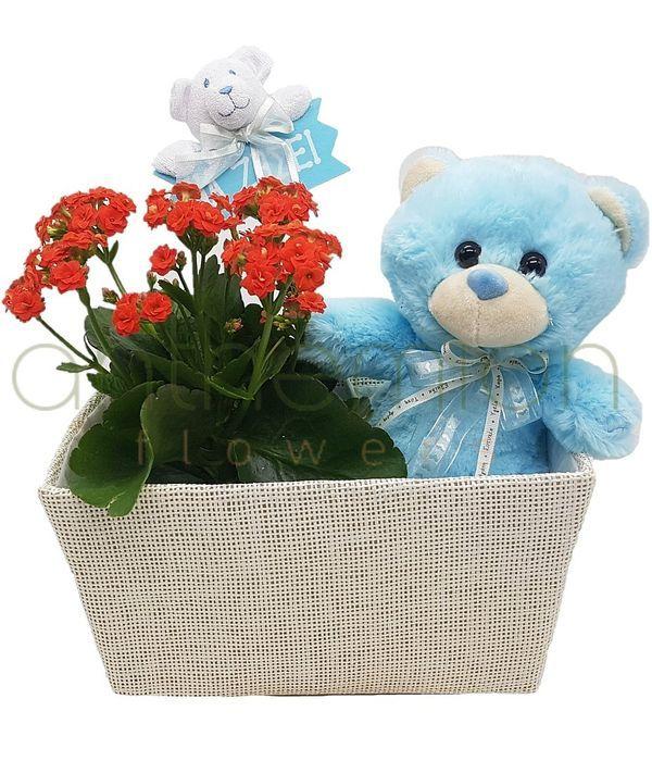 Basket arrangement for baby boy