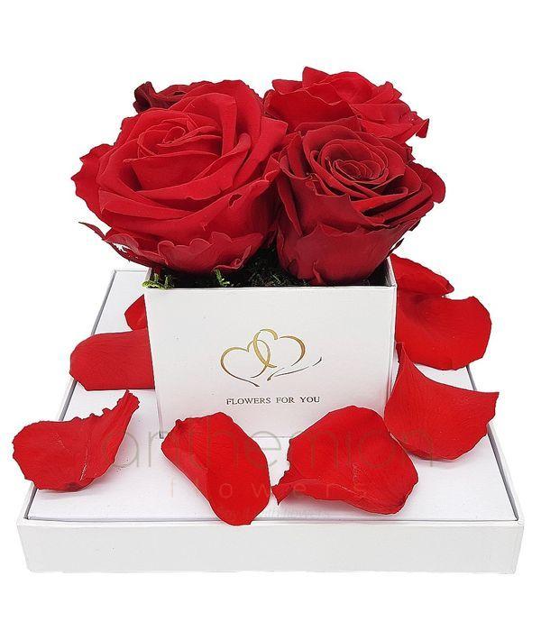 4 Forever roses σε κουτί με διαφάνεια