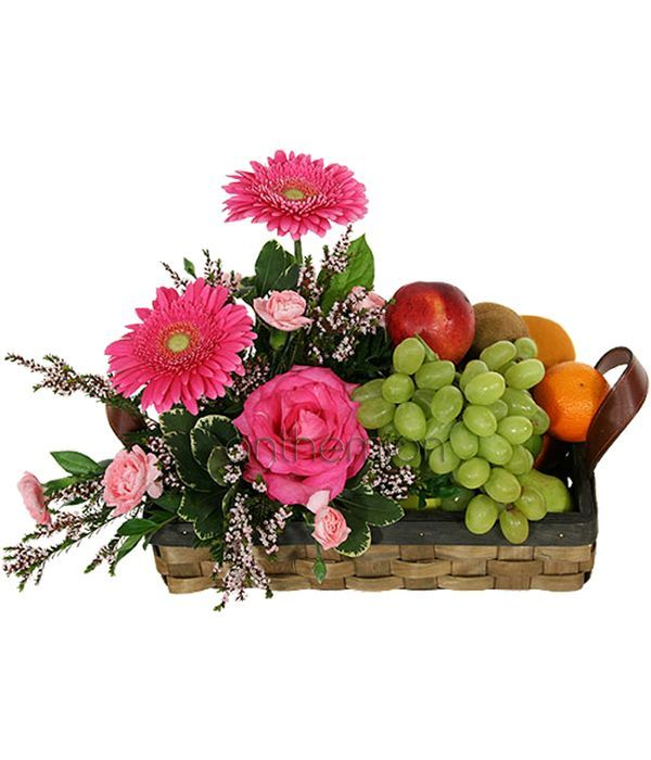 Basket arrangement with seasonal flowers and fruits