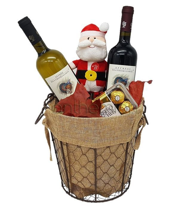 Merry Christmas with 2 wines,chocolates and plush Santa