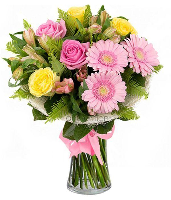 Μπουκέτο με ροζ και κίτρινα λουλούδια