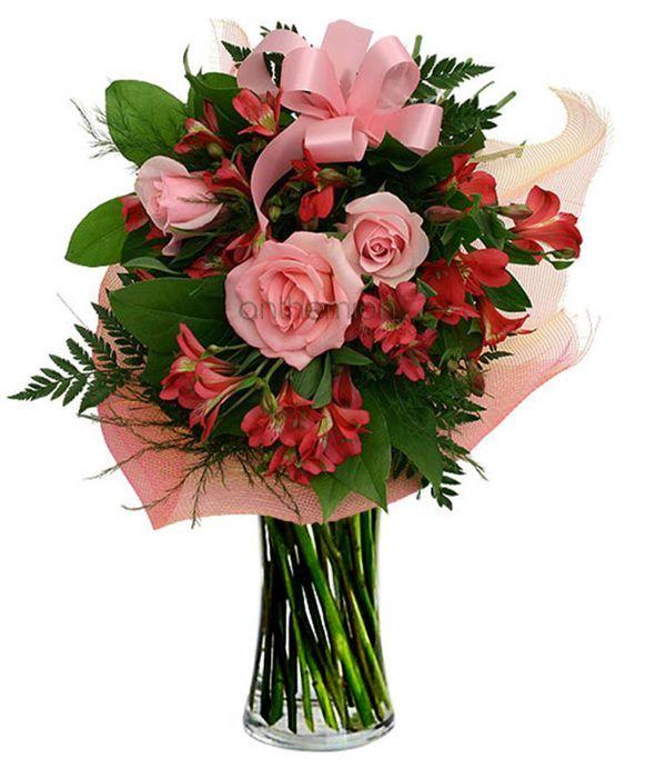 Ρομαντικό μπουκέτο σε ροζ και κόκκινο