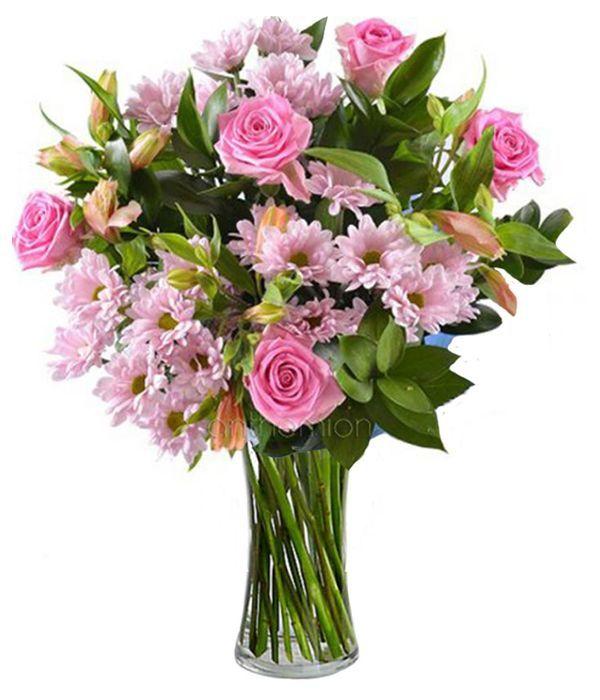 Μπουκέτο με ροζ λουλούδια