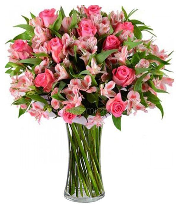 Ροζ αλστρομέριες και τριαντάφυλλα