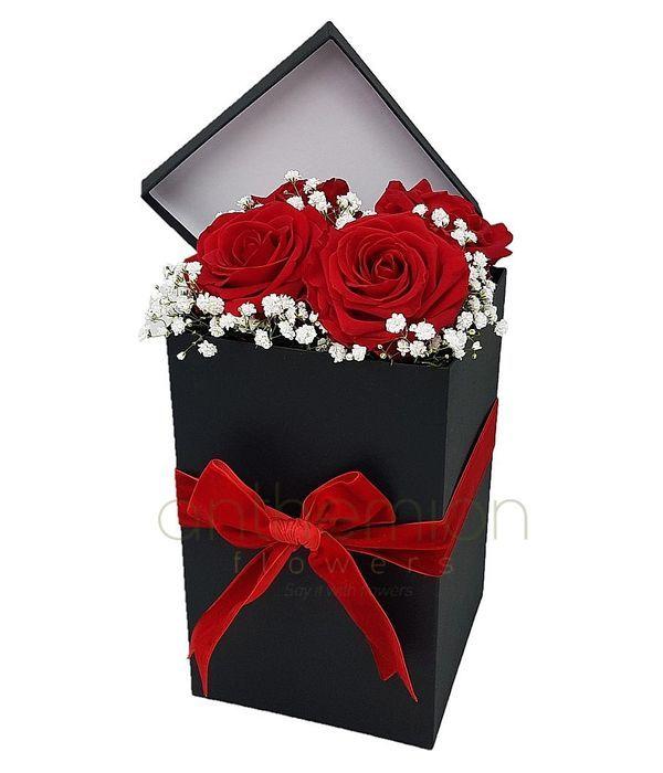 Ψηλό κουτί με τριαντάφυλλα και γυψοφύλλη