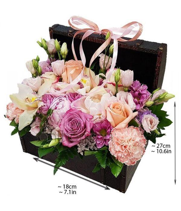 Μπαουλάκι με ροζ λουλούδια
