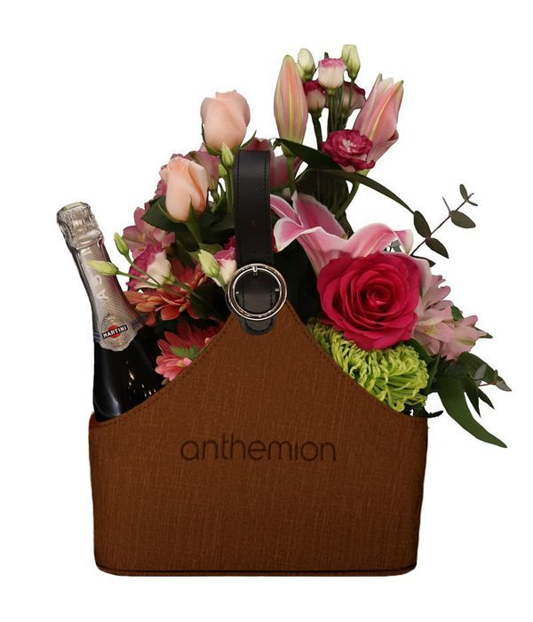 Brown leather newspaper case with Martini and flowers
