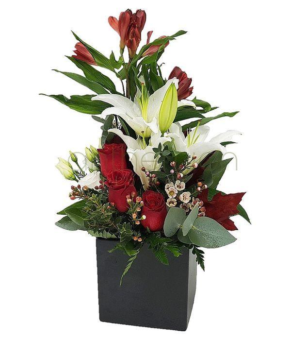 Κύβος με λευκά/κόκκινα λουλούδια