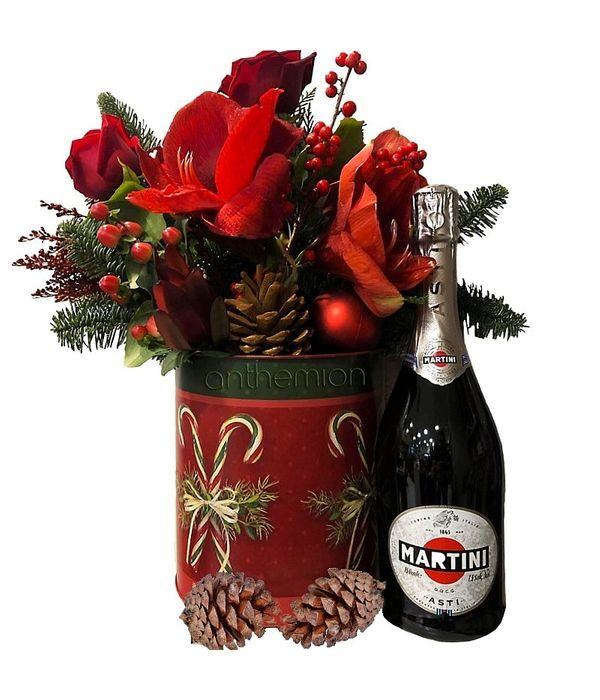 Christmas flower arrangement and Martini