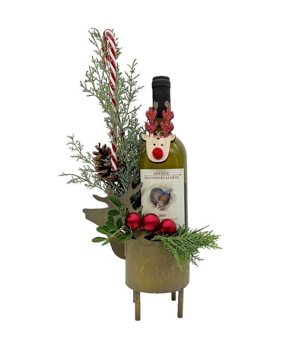 Festive decoration with bottle of wine