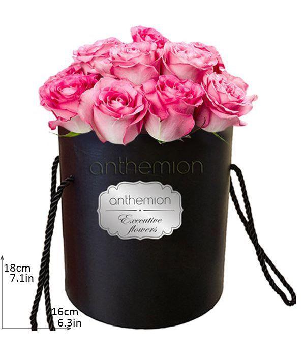 Elegant bicolor/pink roses in box