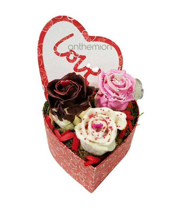 Heart Box with chocolate roses