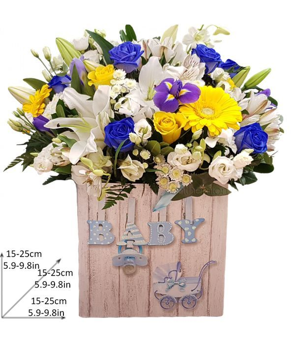 Flowers in box for newborn boy
