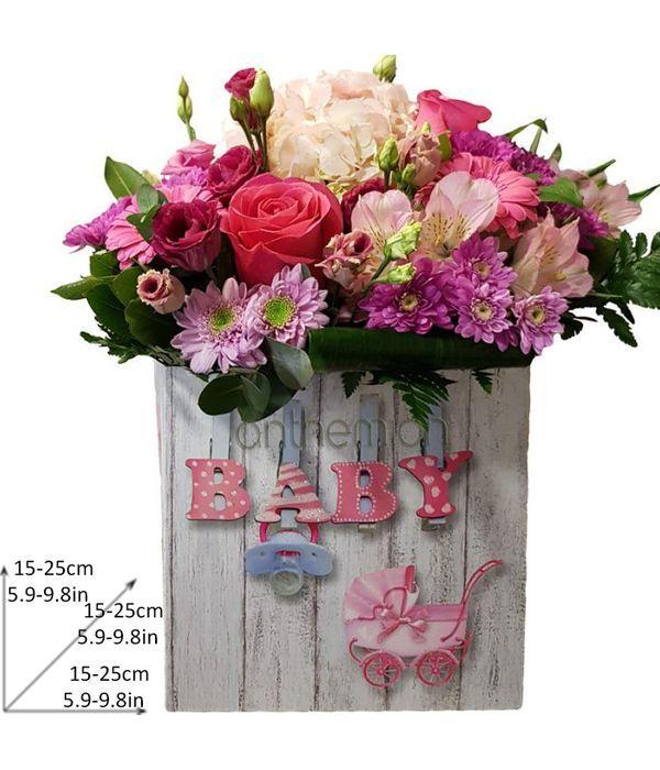 Σύνθεση σε κουτί για νεογέννητο κοριτσάκι