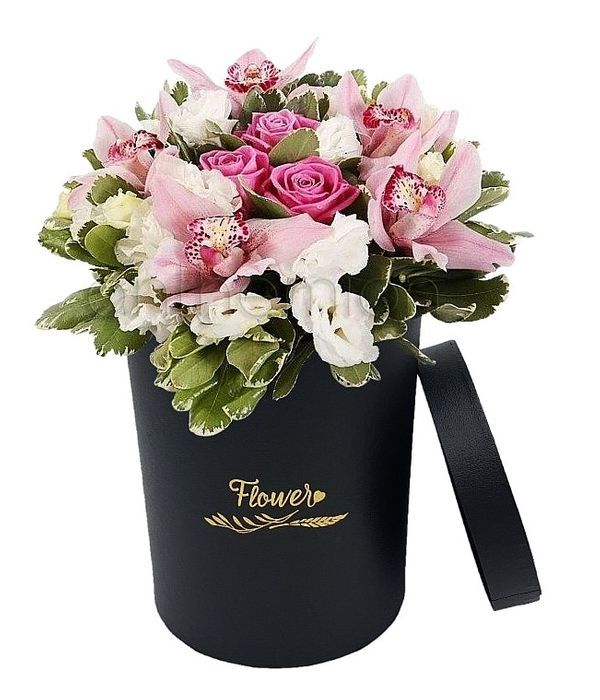 Stunning arrangement in chic tall floral box