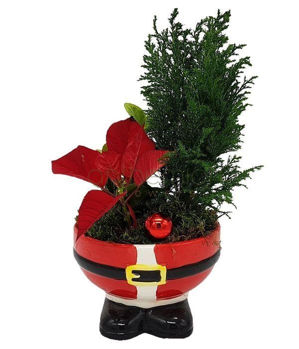Χριστουγεννιάτικη σύνθεση σε κεραμικό Άγιος Βασίλης
