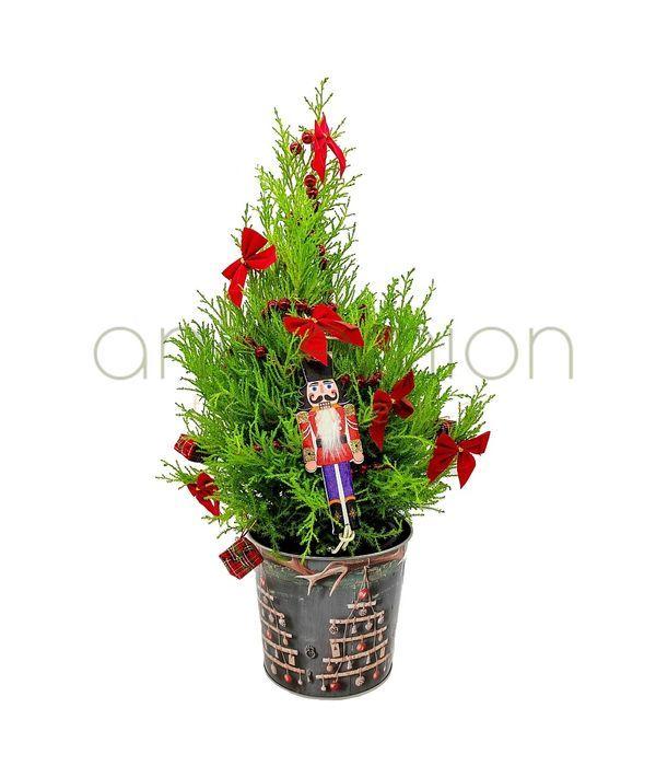 Χριστουγεννιάτικο δεντράκι σε μεταλλικό κασπώ