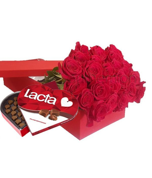 Gift box with 24 red roses and chocolates