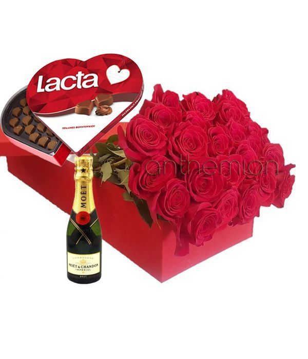 Gift box with 24 roses, chocolates and MOET